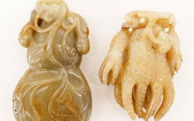 2pc Chinese Jade Pebble Carvings Gourd & Hand Citron.