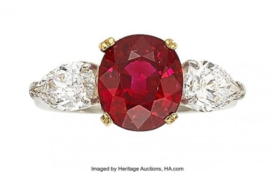 55087: Burma Ruby, Diamond, Platinum, Gold Ring The ri