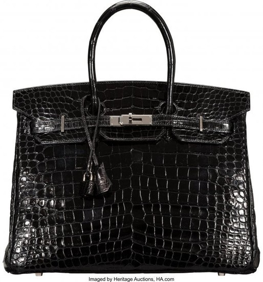 58187: Hermès 35cm Shiny Black Porosus Crocodile