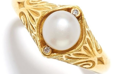A PEARL AND DIAMOND RING in high carat yellow gold set