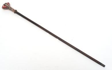 A 1920S ART NOUVEAU XYLONITE CARVED BUTTERFLY HANDLED WALKING STICK ON MAHOGANY SHAFT L.91CM