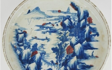A CHINESE BLUE AND WHITE POTTERY SHALLOW BOWL Hand painted i...