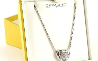 A Chimento 18ct white gold pendant and chain, the heart shap...
