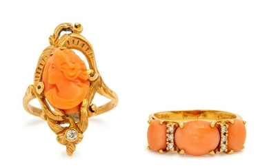A Collection of Yellow Gold, Coral and Diamond Rings,