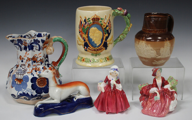 A Crown Devon Fieldings musical tankard commemorating the Coronation of George VI and Elizabeth, a D