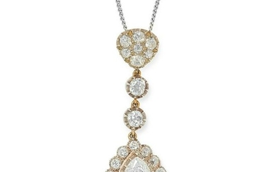 A DIAMOND PENDANT AND CHAIN set with a principal pear