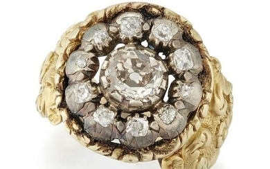 A Diamond Cluster Ring, an old-cut diamond in a