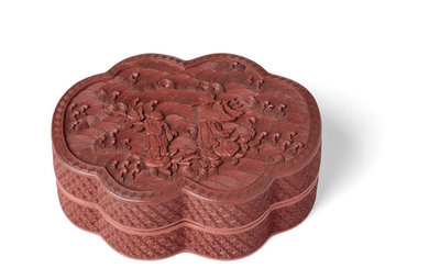 A FINELY CARVED CINNABAR LACQUER 'IMMORTALS' BOX AND COVER
