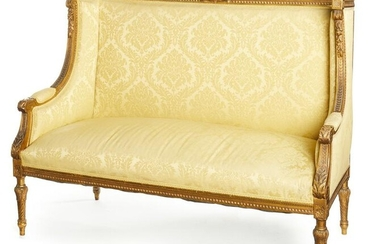 A French Louis XVI-style settee with yellow damask