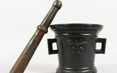 A HEAVY TWIN-HANDLED CAST IRON PESTLE AND MORTAR