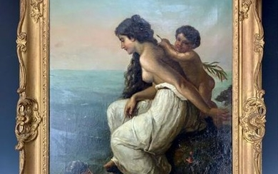 A LARGE GERMAN OIL PAINTING ON CANVAS THE BATHERS