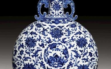 A MAGNIFISCENT MING-STYLE BLUE AND WHITE MOON FLASK.