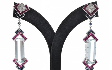 A PAIR OF ART DECO STYLE DROP EARRINGS SET WITH AQUAMARINE, RUBY AND SAPPHIRE, THE AQUAMARINES TOTALLING 16.78CTS, DETAILED WITH SAP...