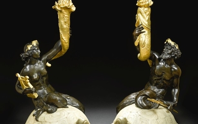 A PAIR OF GILT AND PATINATED BRONZE FIGURES OF TRITON AND NEREID ASTRIDE MARBLE TURTLES, BY EDWARD F. CALDWELL & CO., NEW YORK CIRCA 1900