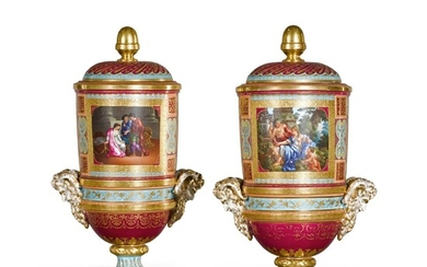 A PAIR OF VIENNA STYLE TWO-HANDLED URNS AND COVERS, CIRCA 1890