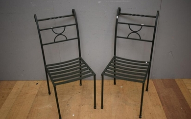 A PAIR OF WROUGHT IRON OUTDOOR CHAIRS (93H x 40W x 54D CM) (LEONARD JOEL DELIVERY SIZE: LARGE)