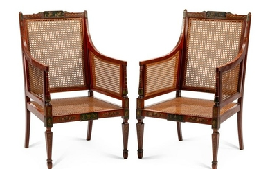 A Pair of Edwardian Painted Satinwood Armchairs