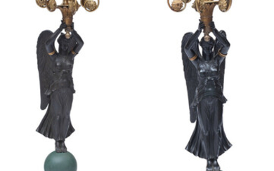 A Pair of French Empire Gilt and Patinated Bronze Figural Six-Light Candelabras (19th century)