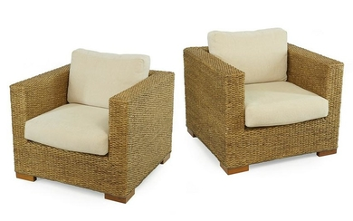 A Pair of Kreiss Collection Rattan Club Chairs.