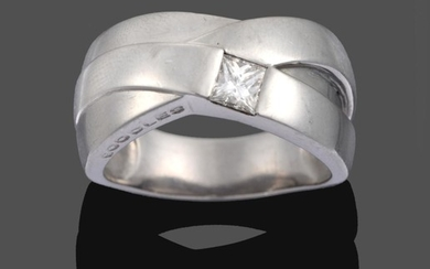 A Platinum Diamond Ring, by Boodles, of triple crossover design...