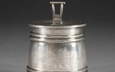 A SILVER TANKARD IN THE PAN SLAVIC STYLE WITH TROIKA