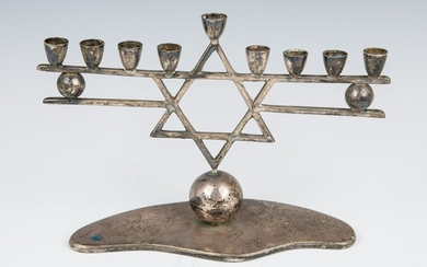 A STERLING SILVER MENORAH BY ZURITA. Mexico, c. 1970.