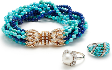 A Turquoise, Lapis Lazuli, Diamond, Cultured Pearl and Gold Suite