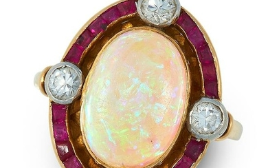 A VINTAGE OPAL, RUBY AND DIAMOND DRESS RING in 18ct