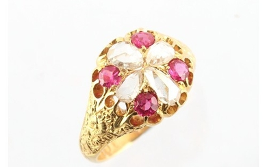 A Victorian 18ct yellow gold ruby & diamond ring, with four ...