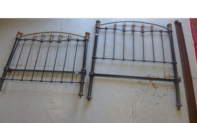 A Victorian brass and iron 4 foot 6 inches bed, headboard 5 ...