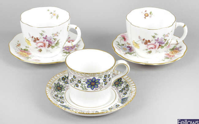 A collection of Royal Crown Derby tea wares, together with a small selection of Royal Crown Derby coffee cans and saucers.