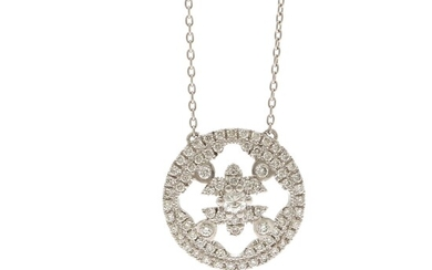 A diamond necklace set with numerous brilliant-cut diamonds weighing a total of app. 0.75 ct., mounted in 14k white gold. Diam. 16 mm. L. 43 cm.