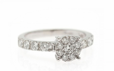 A diamond ring set with numerous brilliant-cut diamonds weighing a total of app. 0.78 ct., mounted in 18k white gold. Size app. 55.