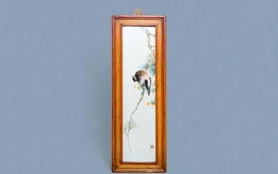 A large Chinese rectangular plaque with a bird on a blossoming branch, seal mark, Republic