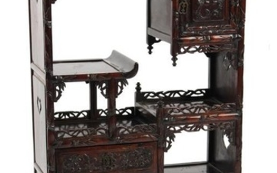 A late 19th century Chinese carved hongmu display cabinet...