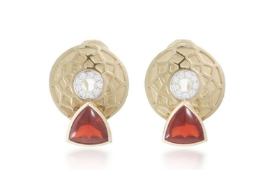 A pair of Silverhorn fire opal and diamond ear clips
