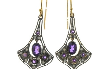 A pair of amethyst and diamond earrings.Estimated total...