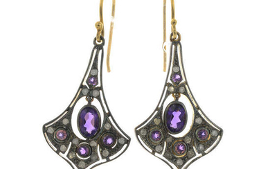 A pair of amethyst and diamond earrings.
