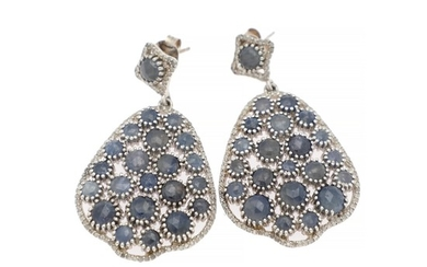 A pair of sapphire and diamond ear pendants each set with numerous sapphires and diamonds, totalling app. 1.50 ct., mounted in 18k white gold. (2)