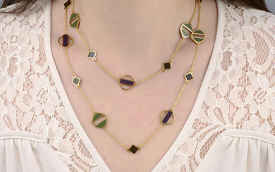 A purple, green and brown enamel 'Zellige' sautoir necklace, by Tiffany & Co.