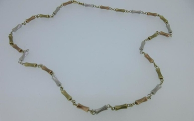 A tri-coloured gold necklace by Mappin & Webb,