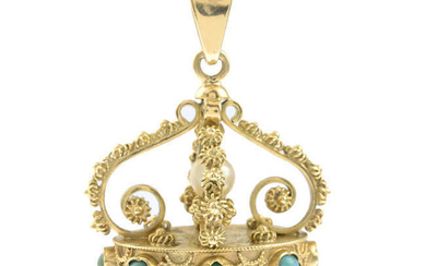 A turquoise and cultured pearl pendant.