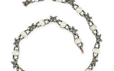 AN ANTIQUE NATURAL PEARL AND DIAMOND NECKLACE, 19TH