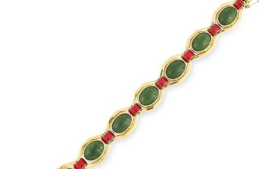 AN ART DECO JADE AND ENAMEL SCARAB BRACELET, JANESICH