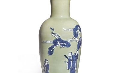 AN UNDERGLAZE-BLUE, COPPER-RED AND CELADON-GLAZED VASE, QING DYNASTY, KANGXI PERIOD