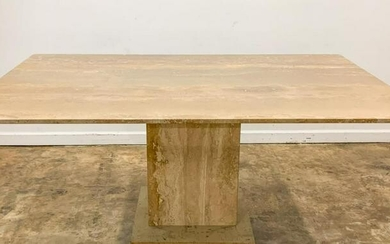 ARTEDI STYLE TRAVERTINE AND BRASS DINING TABLE