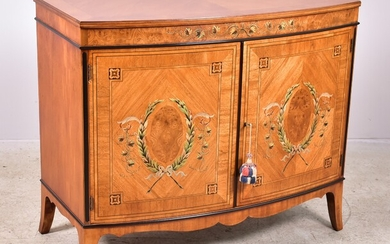 Adams Style Inlaid and Paint Decorated Bow Front Commode