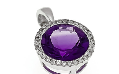 Amethyst-brilliant pendant WG 585/000 with a round fac....