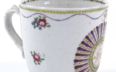 An 18th century Chinese export coffee cup, with painted and ...
