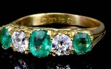 An Emerald and Diamond Five Stone Ring, 20th Century,...